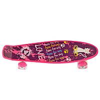 Детский скейтборд пенни борд со светящимися колесами, розовый с принтом, 56 х 14 см. Есть другие цвета