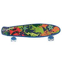 Детский скейтборд пенни борд со светящимися колесами, синий с принтом, 56 х 14 см. Есть другие цвета