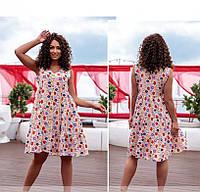 / Размер 42-44, 46-48 / Женское летнее платье с цветочным принтом / 522-Пудра