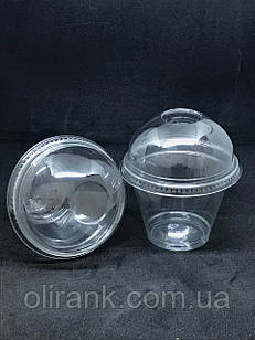 Стакан пластиковий ( купольна кришка (без отвору)  прозорий COVERIS  280мл/50шт  (16уп/ящ)