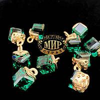 Подвеска-бусина с креплением 15*9*9 мм, цвет Emerald, 1 шт