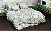 Комплект постельного белья евро с простынью на резинке на матрас 180х200см, бязь 100% хлопок