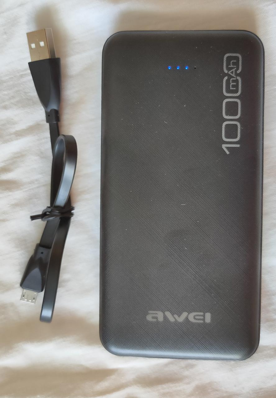 Power Bank Awei 10000 mAh 2*USB 5V 2,1A, 1A Fast charging, кабель USB - micro USB, универсальный аккумулятор