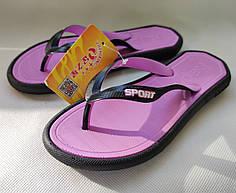 Женские сланцы шлепки вьетнамки шлепанцы пляжные фиолетовые 39р 23,5см