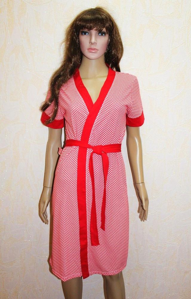Женский комплект халат и ночная для беременных красный 44-54р.