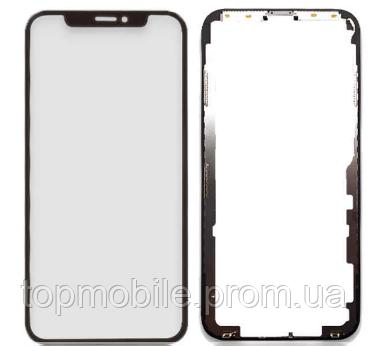 Стекло для iPhone X, черное, с рамкой, с OCA-пленкой