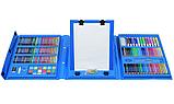 Набор для рисования с мольбертом в чемоданчике Art Set голубой (208 предметов) Синий, фото 3