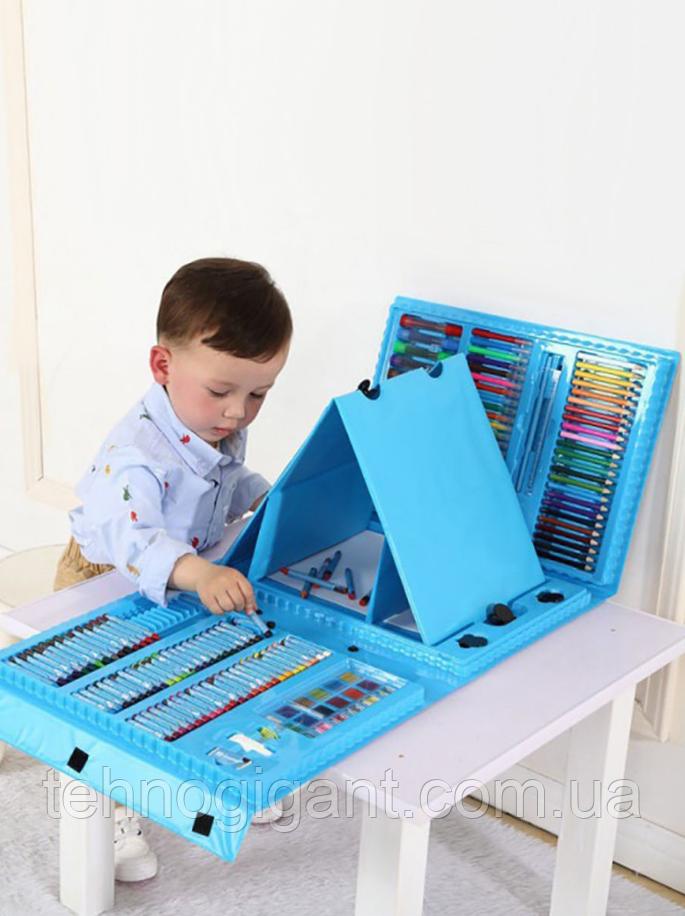 Набор для рисования с мольбертом в чемоданчике Art Set голубой (208 предметов) Синий