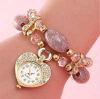 Часы наручные женские недорогие, форма Сердце, красивый браслет