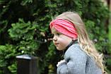 """Повязочка детская на девочку """"Чалма"""" коралловая котоновая повязка тюрбан размеры от младенцев и больше, фото 3"""