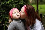 """Повязочка детская на девочку """"Чалма"""" коралловая котоновая повязка тюрбан размеры от младенцев и больше, фото 4"""