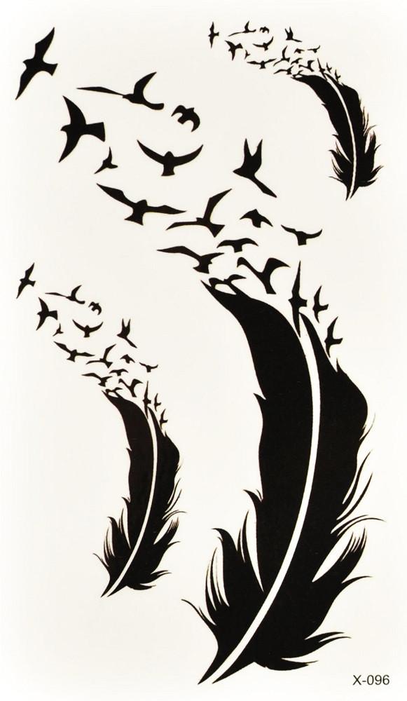 Временная тату Перья-птицы набор (X-096, 10,5x6 см)