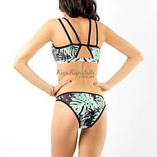 Купальник раздельный на молнии бикини тропический принт купальник открытый спортивный 130-22, фото 3
