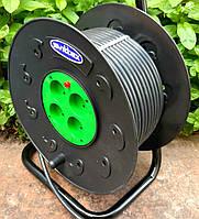 Подовжувач на котушці 50м 2х2,5 мм2 ПВС 4 розетки SVITTEX з термозахистом SV-021, фото 1