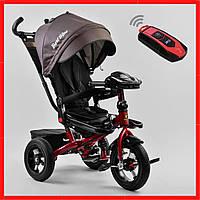 Велосипед  детский трехколесный Серый велосипед для ребенка от  10 мес поворотное сиденье, надувные колеса
