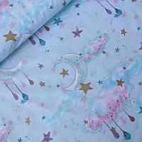 Бавовна Преміум хмари і зірки з глітером на м'ятному (компньон до единорожкам), ш. 160 см