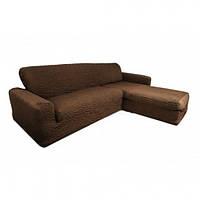 Чехол на угловой диван с выступом (оттоманкой) CONCORDIA (ЖАТКА-КРЕШ) Шоколад