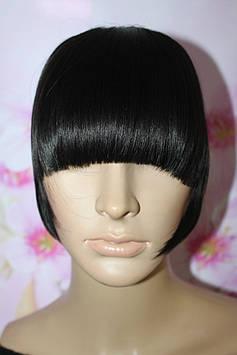 Челка на заколках искусственные волосы термоволокно черный прямая