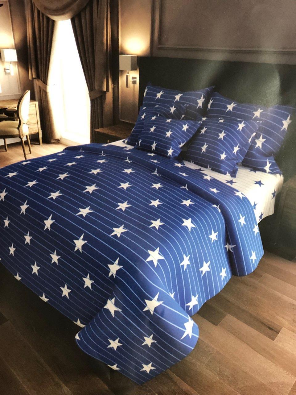 Красивое постельное белье, семейка, полоски/звезды