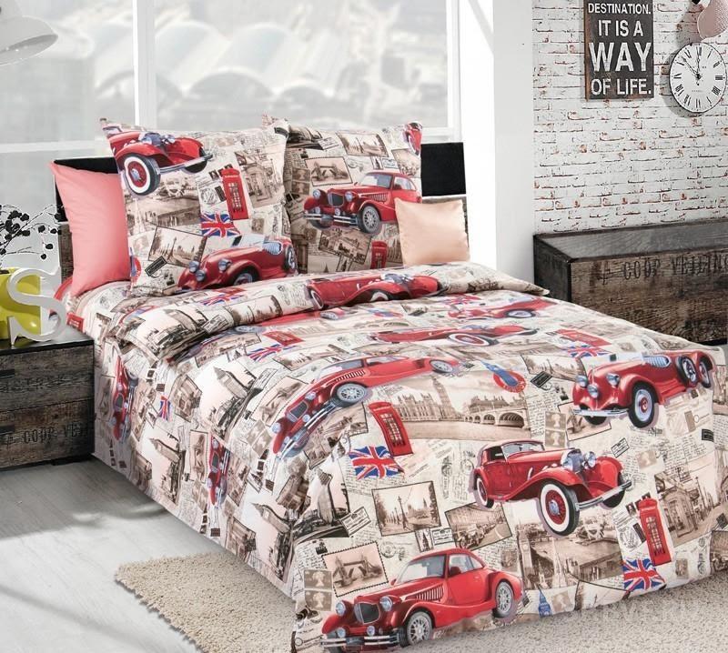 Комплект красивого и качественного постельного белья семейка, тачки