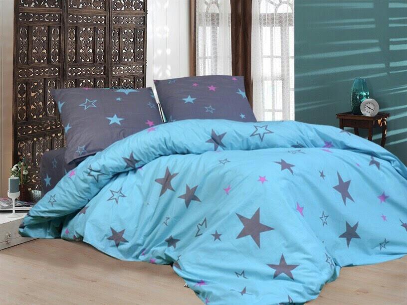 Качественное постельное белье семейка, звезда на голубом