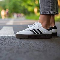 Кроссовки женские Adidas Samba белые, Адидас Самба, код IN-472