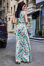 Длинное летнее цветочное шелковое платье в пол (Флори jd), фото 3