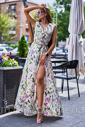 Длинное летнее цветочное шелковое платье в пол (Флори jd), фото 2