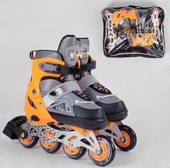Детские ролики раздвижные Best Roller 9807-М размер 34-37 колёса PU d – 7 см со светом в сумке оранжевый