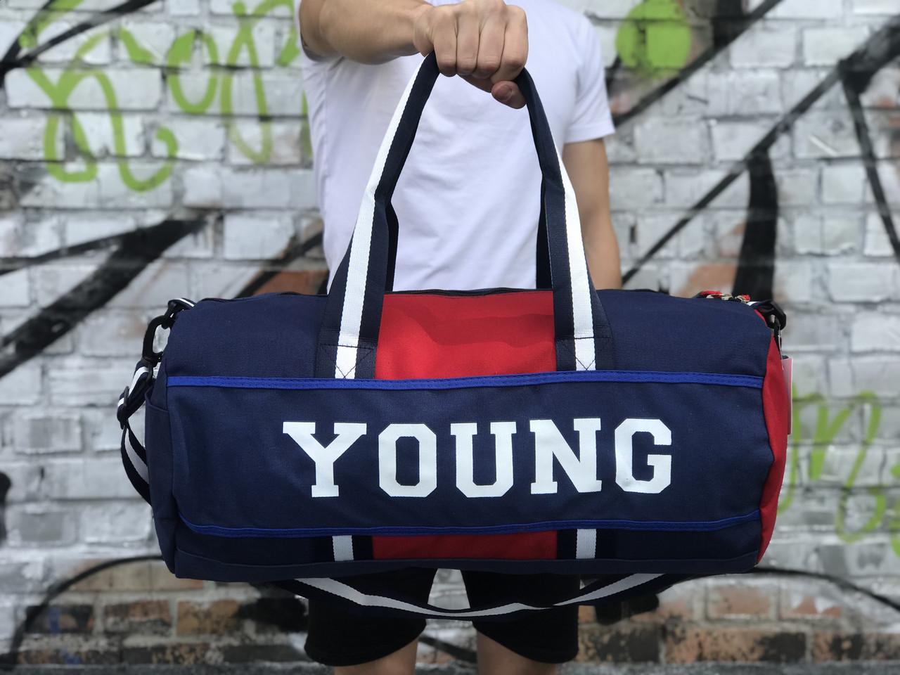 Мужская спортивная сумка Young, синяя с красным