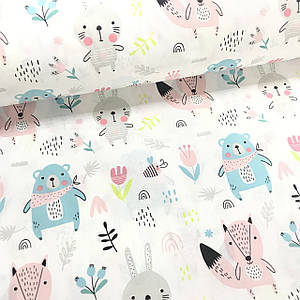 Ткань поплин зайчики, лисы и медведи бирюзовые с цветочками на белом (ТУРЦИЯ шир. 2,4 м)