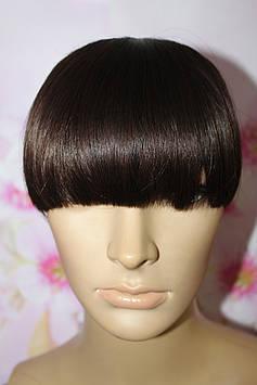 Челка на заколках искусственные волосы термоволокно шоколадный прямая