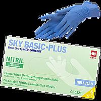 """Перчатки нитриловые неопудренные голубые S """"Sky Basic Plus"""" 1уп/200шт"""