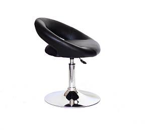 Круглое стильное кресло из эко-кожи на круглом хромированном основании HOLY CH-BASE, фото 2