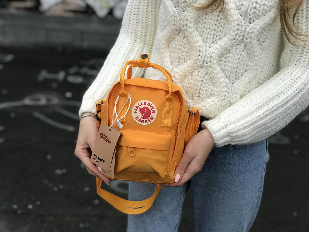 Маленький рюкзак Kanken c плечевым ремнем рыжая