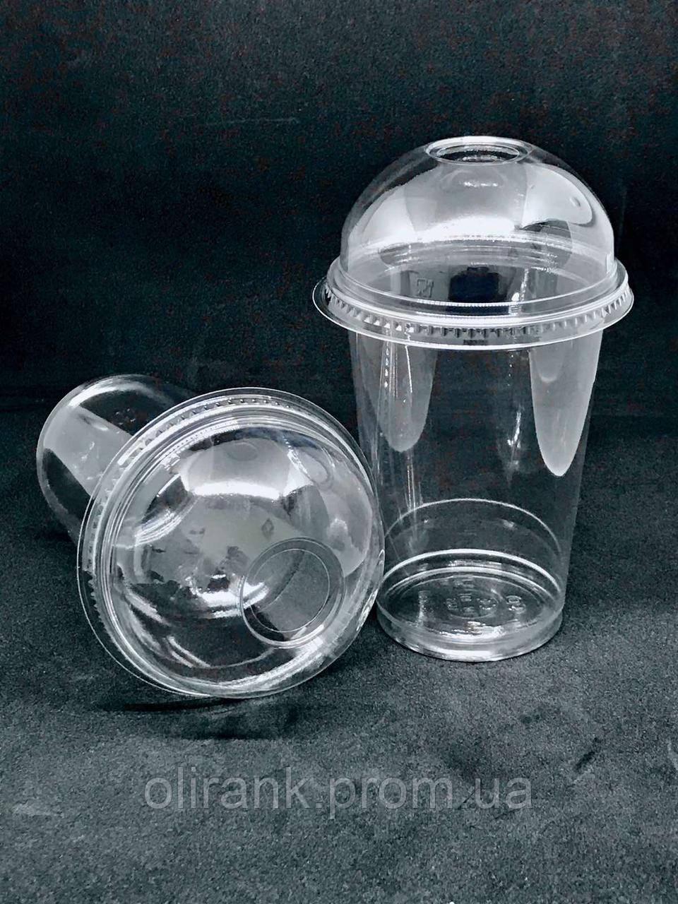 Стакан пластиковый с купольной крышкой прозрачный  COVERIS 300мл/50шт (16уп/ящ)
