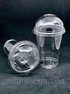 Стакан пластиковий (купольна кришка з отвором під трубочку)  прозорий COVERIS  400мл/50шт (16уп/ящ)