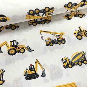 Ткань поплин бульдозеры, самосвалы, тракторы желтые на белом (ТУРЦИЯ шир. 2,4 м)
