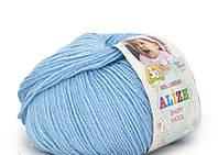 Пряжа Baby Wool 50гр - 175м (350 Голубой) Alize, Детская пряжа (40%-шерсть, 20%-бамбук, 40%-акрил,Турцию