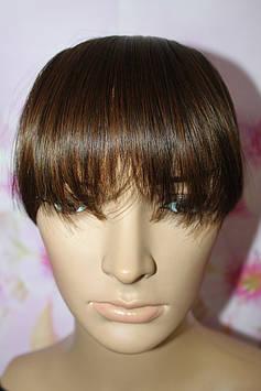Челка на на заколках искусственные волосы темно русый термоволокно