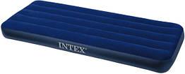 Надувной велюровый матрас Intex 64756 с Fiber-Tech волокнами 76 х 191 х 25 см синий