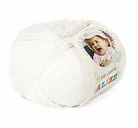 Пряжа Baby Wool 50гр - 175м (55 Белый) Alize, Детская пряжа (40%-шерсть, 20%-бамбук, 40%-акрил,Турцию