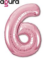 Фольгированная цифра 6 (40') Agura Slim фламинго в упаковке, 102 см