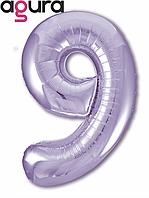 Фольгированная цифра 9 (40') Agura Slim пастельный фиолетовый в упаковке, 102 см