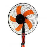 Вентилятор напольный с таймером пятилопастной 40 Вт 3 скорости Domoteс MS-1620 Черный с Оранжевым, фото 2