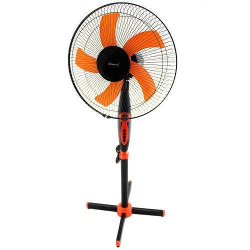 Вентилятор напольный с таймером пятилопастной 40 Вт 3 скорости Domoteс MS-1620 Черный с Оранжевым