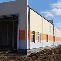 Строительство и реконструкция производственных зданий. Навесной вентилируемый фасад из сэндвич-панелей.