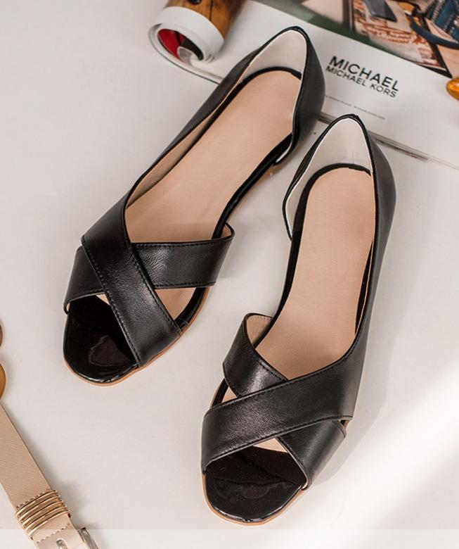 Кожаные летние балетки босоножки открытой носок на плоской подошве без каблука, кожа размеры 36-42