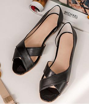 Кожаные летние балетки босоножки открытой носок на плоской подошве без каблука, кожа размеры 36-42, фото 2