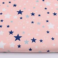 """Ткань """"Звёздный карнавал"""" с синими и белыми звёздами на персиковом фоне, № 2801а"""